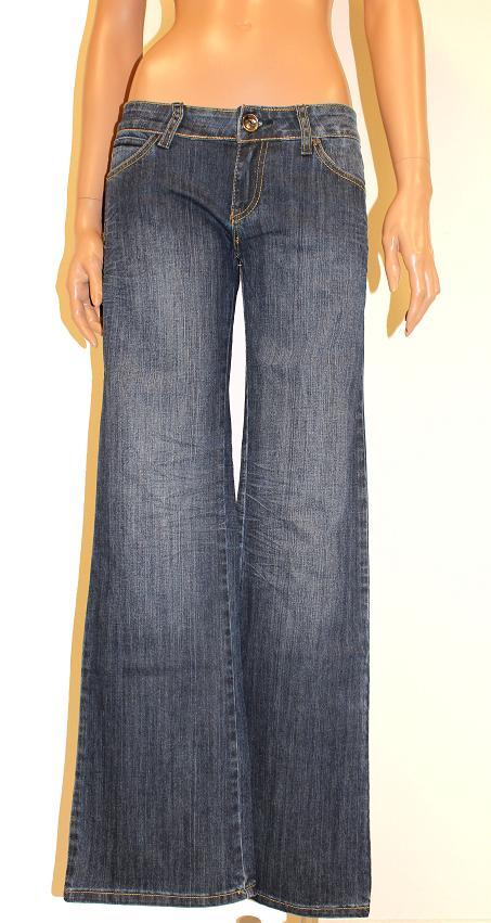 damen jeanshose jeans hose weites bein dunkelblau denim w25 w29 neu 9 ebay. Black Bedroom Furniture Sets. Home Design Ideas