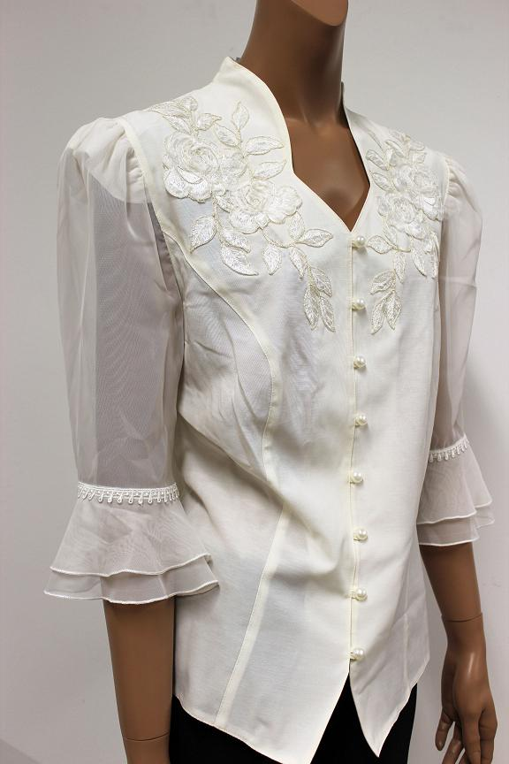 festliche damen bluse tunika farbe natur 3 4 arm bestickt. Black Bedroom Furniture Sets. Home Design Ideas